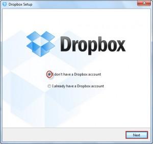 Создание учетной записи dropbox